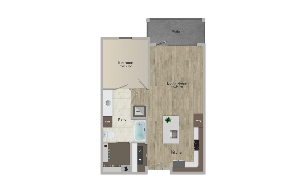 A2 - 1 bedroom floorplan layout with 1 bath and 724 square feet.