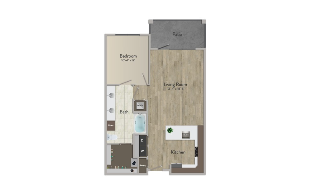 A3 - 1 bedroom floorplan layout with 1 bath and 813 square feet.
