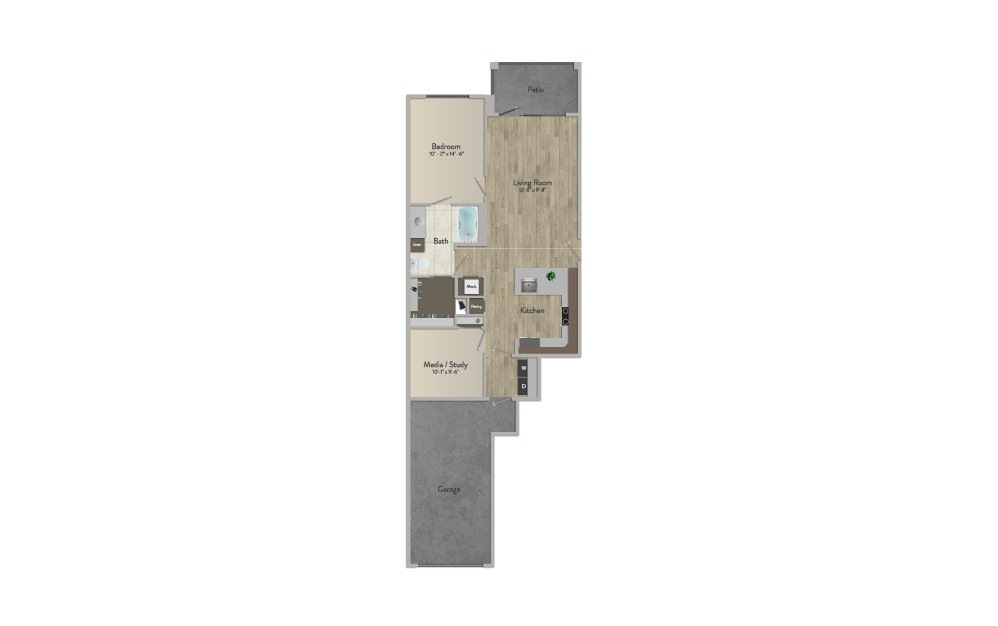 A4 - 1 bedroom floorplan layout with 1 bath and 926 square feet.