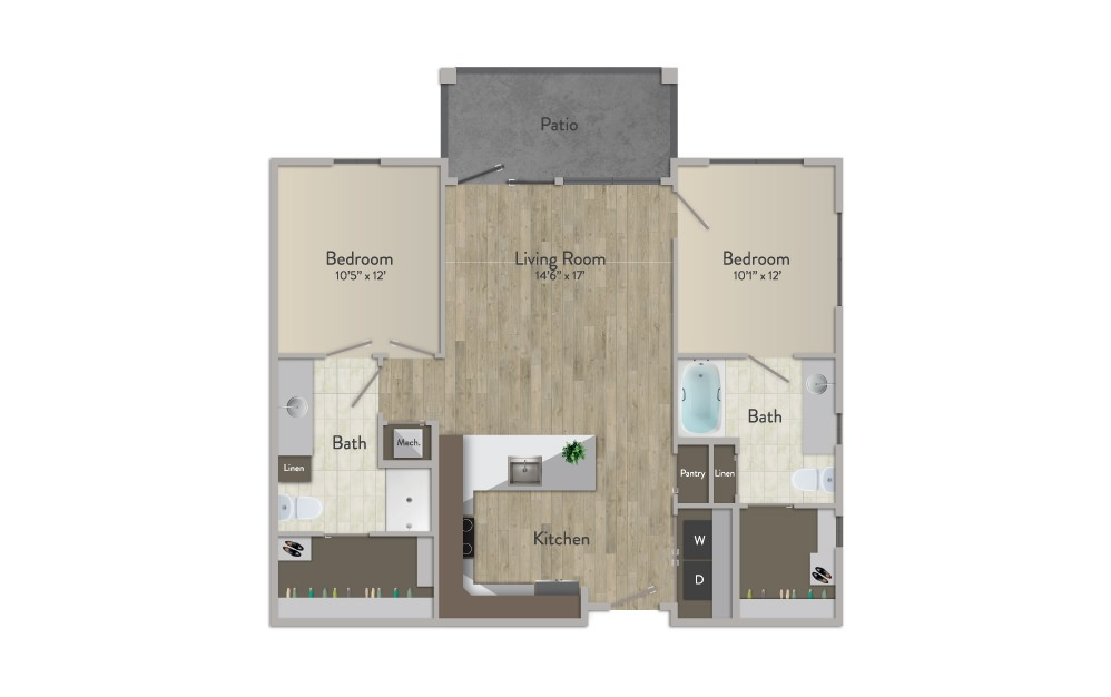 B1 - 2 bedroom floorplan layout with 2 baths and 1066 square feet.