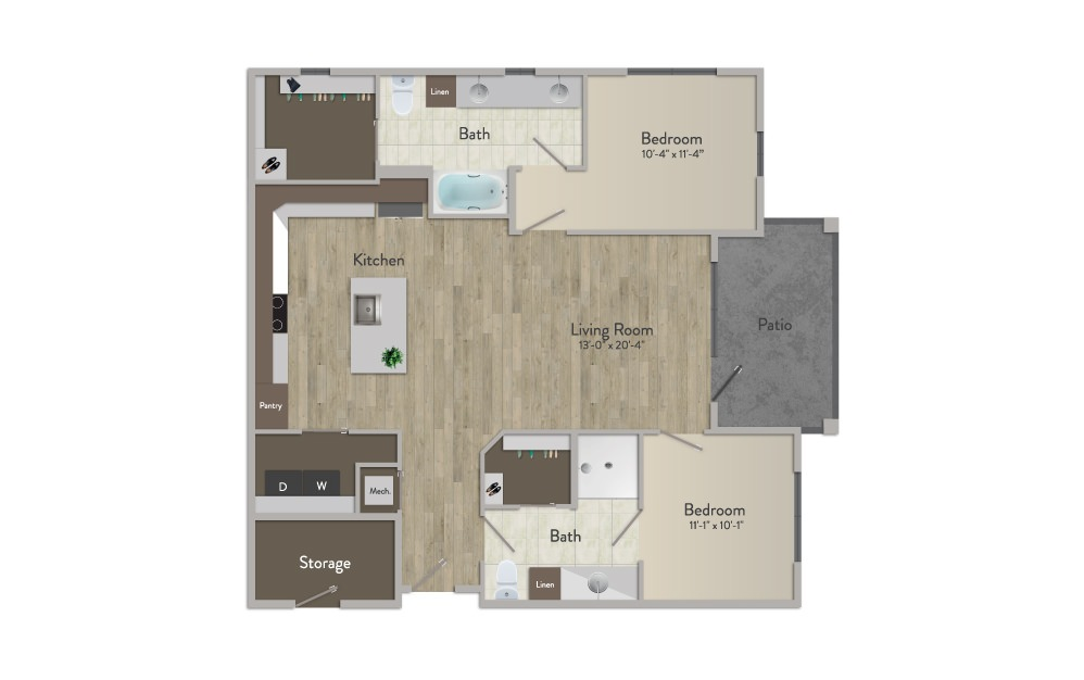 B2 - 2 bedroom floorplan layout with 2 baths and 1164 square feet.