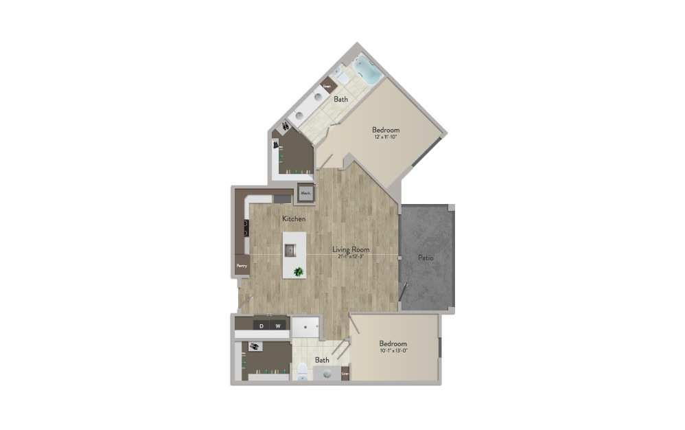 B3 - 2 bedroom floorplan layout with 2 baths and 1173 square feet.