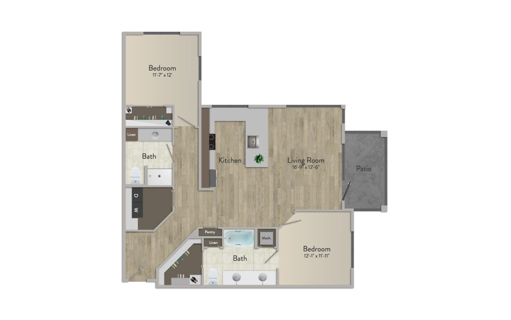 B4 - 2 bedroom floorplan layout with 2 baths and 1262 square feet.