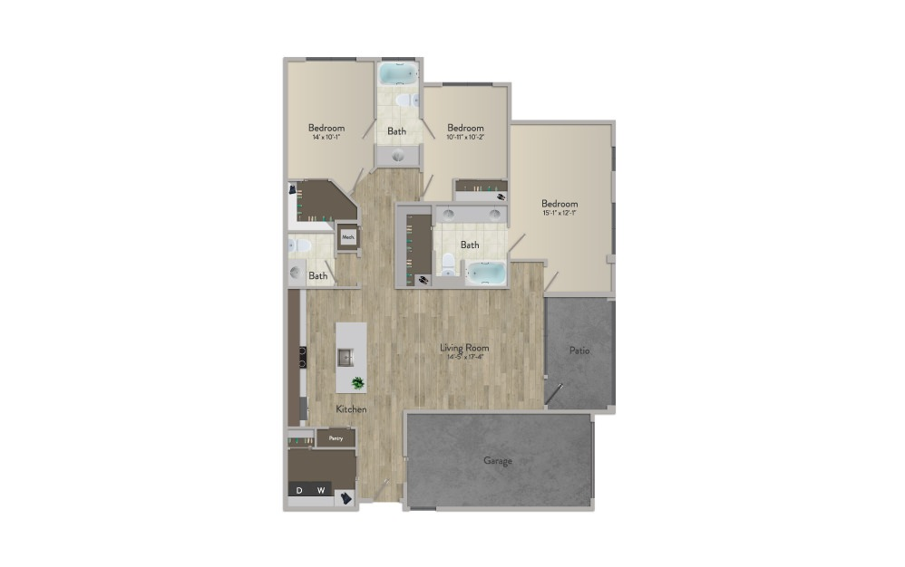 C1 - 3 bedroom floorplan layout with 2.5 baths and 1561 square feet.